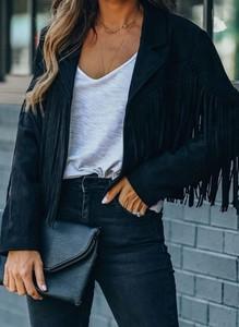 Czarna kurtka Cikelly w stylu boho krótka