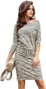 Sukienka NUMOCO prosta w stylu casual z długim rękawem