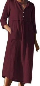 Czerwona sukienka Cikelly z długim rękawem