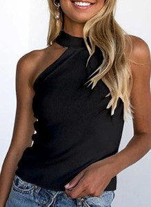 Czarna bluzka Sandbella z dekoltem typu choker
