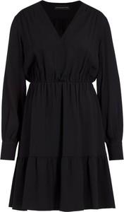 Czarna sukienka Sportmax Code z długim rękawem mini rozkloszowana