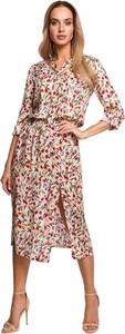 Sukienka MOE z tkaniny midi z długim rękawem