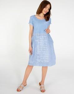 Niebieska sukienka Unisono w stylu casual z lnu