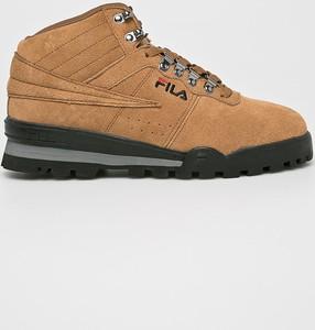 Brązowe buty zimowe Fila z zamszu