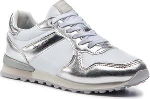 Srebrne buty sportowe Pepe Jeans sznurowane