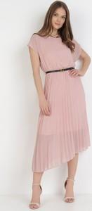 Sukienka born2be midi z krótkim rękawem z okrągłym dekoltem