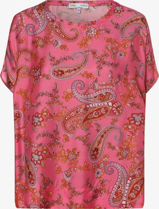Różowa bluzka Tonno & Panna z jedwabiu z okrągłym dekoltem