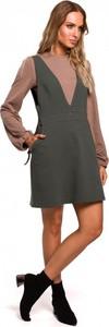Sukienka MOE w stylu casual z dekoltem w kształcie litery v z bawełny