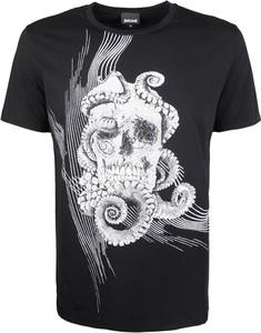 Czarny t-shirt Roberto Cavalli z krótkim rękawem