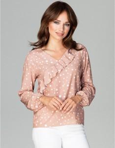 Różowa bluzka LENITIF z długim rękawem