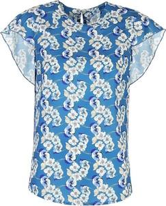 Niebieska bluzka Colett z okrągłym dekoltem z krótkim rękawem