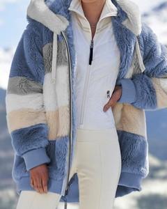 Kendallme Pluszowy płaszcz z kapturem colorblock długim rękawem kurtka niebieski