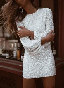 Sukienka Cikelly z długim rękawem z okrągłym dekoltem w stylu casual