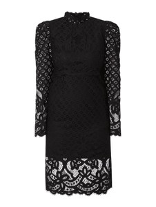 Czarna sukienka Bardot z długim rękawem z bawełny