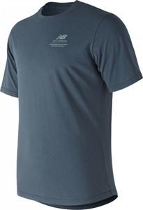 Niebieski t-shirt New Balance z krótkim rękawem