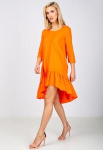 Pomarańczowa sukienka Zoio z okrągłym dekoltem oversize z długim rękawem