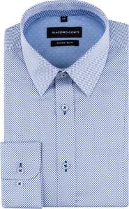 Niebieska koszula Giacomo Conti z klasycznym kołnierzykiem