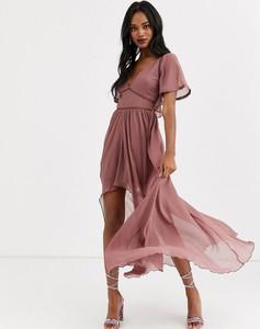 Sukienka Asos z krótkim rękawem z dekoltem w kształcie litery v maxi