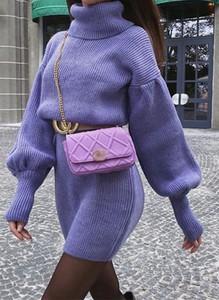 Fioletowa sukienka Sandbella z golfem mini w stylu casual