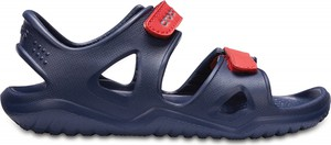 Niebieskie buty dziecięce letnie Crocs w paseczki
