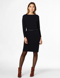 Granatowa sukienka Esprit z kaszmiru z długim rękawem mini