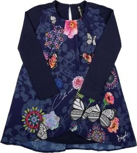 Granatowa sukienka dziewczęca Desigual w kwiatki