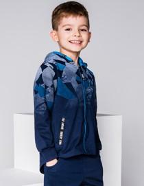 Ombre clothing bluza dziecięca rozpinana z kapturem kb022 - niebieska
