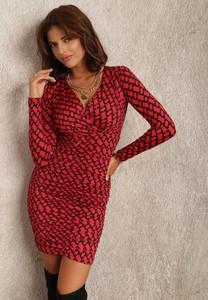Czerwona sukienka Renee mini z długim rękawem z dzianiny