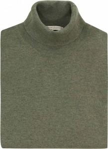 Zielony sweter Gran Sasso z dżerseju z okrągłym dekoltem