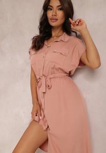 Różowa sukienka Renee mini z dekoltem w kształcie litery v w stylu casual