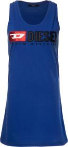 Niebieska sukienka Diesel z okrągłym dekoltem bez rękawów sportowa