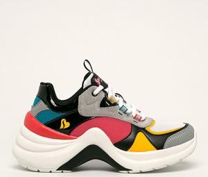 Buty sportowe Skechers sznurowane ze skóry na platformie