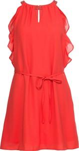 Czerwona sukienka bonprix BODYFLIRT midi z dekoltem typu choker