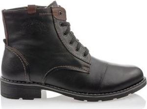 Czarne buty zimowe butyolivier.pl ze skóry sznurowane