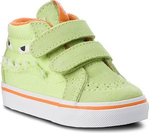 Zielone buciki niemowlęce Vans z zamszu na rzepy