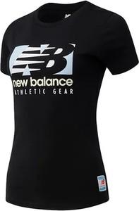 Czarna bluzka New Balance w sportowym stylu z krótkim rękawem z okrągłym dekoltem