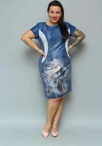 Niebieska sukienka KARKO z tkaniny z krótkim rękawem midi