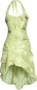 Zielona sukienka Fokus midi z tkaniny z krótkim rękawem
