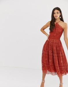 Czerwona sukienka Asos z dekoltem halter