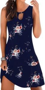 Granatowa sukienka Arilook w stylu casual z okrągłym dekoltem