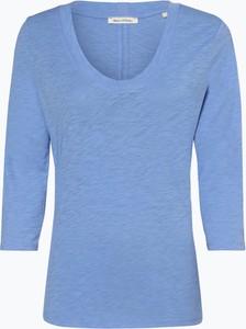 Niebieski t-shirt Marc O'Polo z okrągłym dekoltem z długim rękawem
