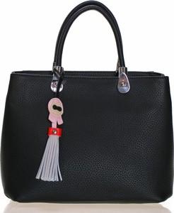 Czarna torebka Max & Enjoy ze skóry ekologicznej do ręki w stylu boho