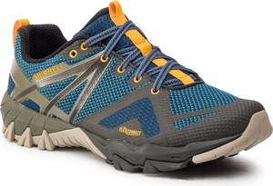 Niebieskie buty trekkingowe Merrell sznurowane