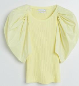 Żółta bluzka Reserved w stylu casual z okrągłym dekoltem