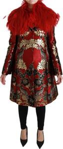 Czerwony płaszcz Dolce & Gabbana z jedwabiu w stylu casual