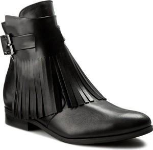 Czarne botki Oleksy w stylu casual ze skóry z klamrami