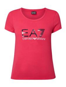 Różowa bluzka EA7 Emporio Armani z długim rękawem z okrągłym dekoltem
