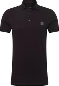 Czarna koszulka polo Boss z krótkim rękawem z bawełny w stylu casual