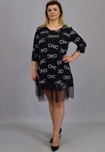Czarna sukienka KARKO ze skóry ekologicznej z długim rękawem mini