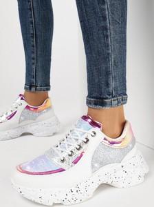 Srebrne buty sportowe born2be sznurowane